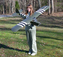 Melanie with Great Planes Cub 20 modified as an L-4 Grasshopper - Airplanes and Rockets