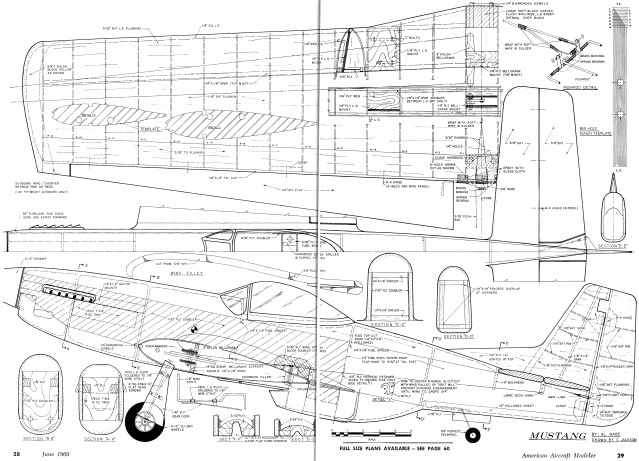 mustang plans  june 1969 american aircraft modeler