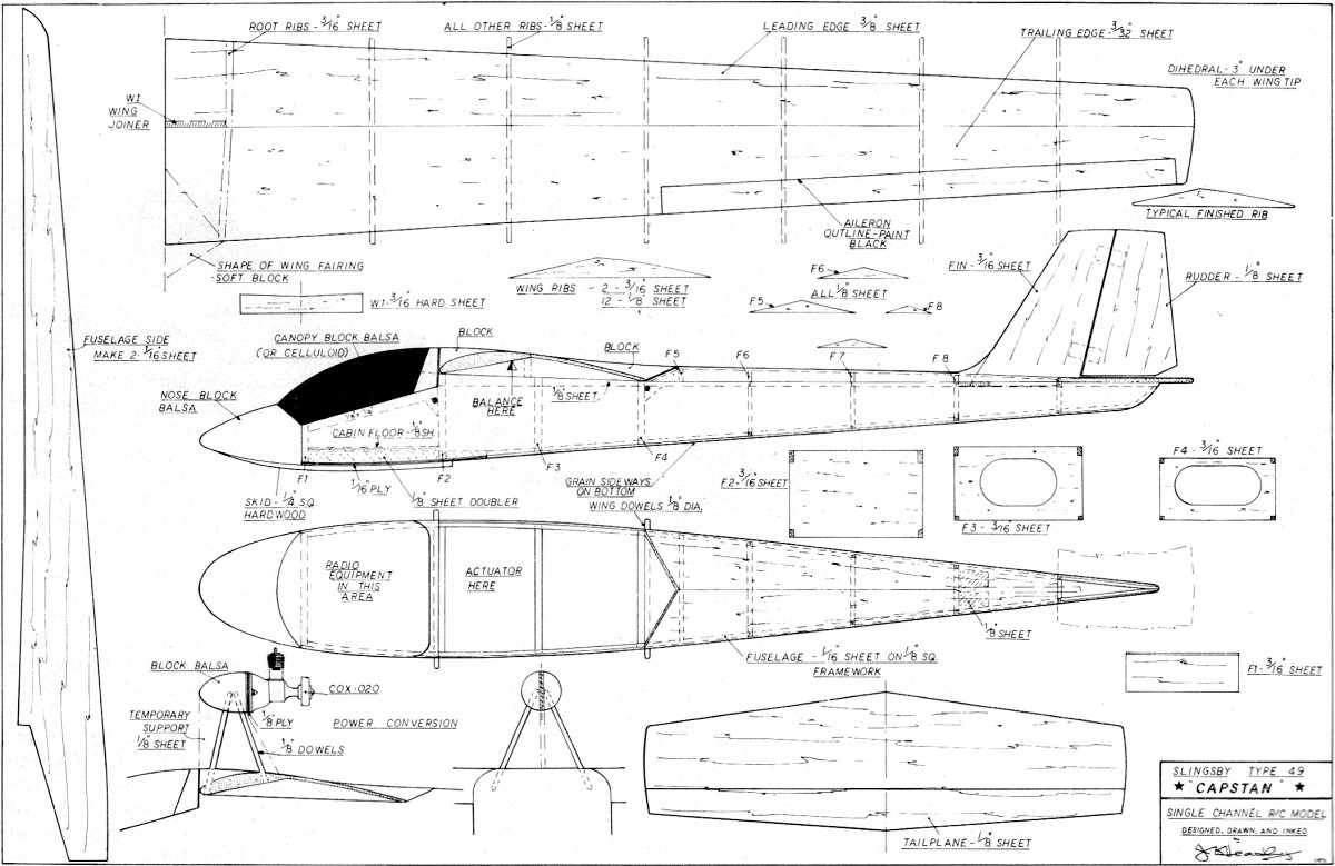 Slingsby Type 49 Capstan Glider Article Plans August 1972