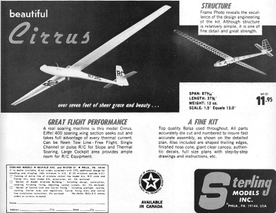 Sterling Cirrus sailplane - Airplanes and Rockets