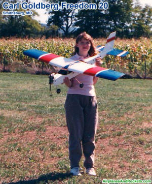 Supermodel Melanie holding my Carl Goldberg Freedom 20 in Smithsburg, Maryland (1990ish) - Airplanes and Rockets