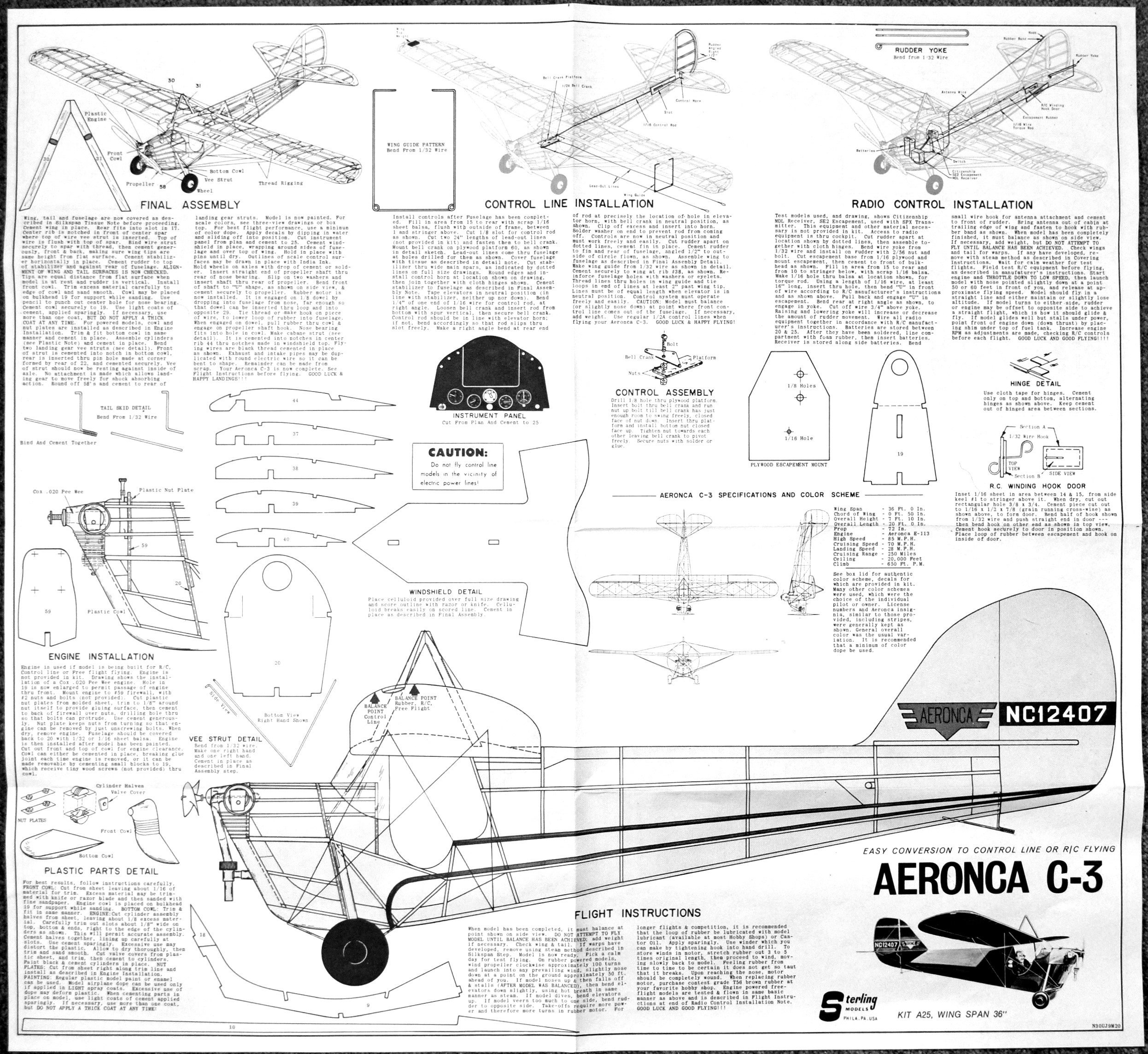Aeronca c 3 kit by sterling models airplanes and rockets for Sterling plan