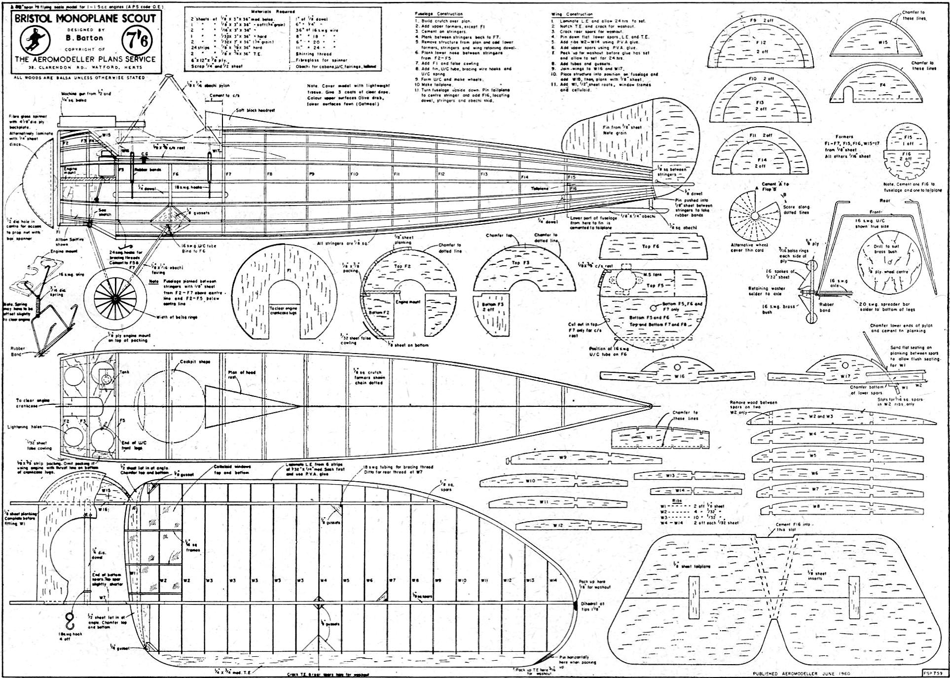 Bristol Monoplane Scout Article  U0026 Plans  June 1960 Aero