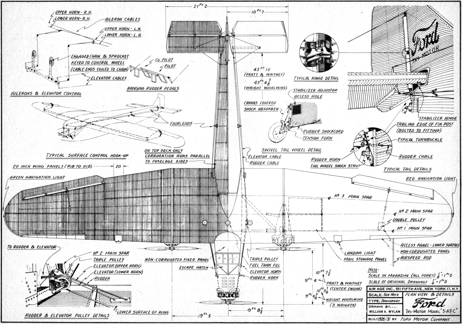 Ford tri motor model 5 at c plans may 1954 model airplane for Airplane plan