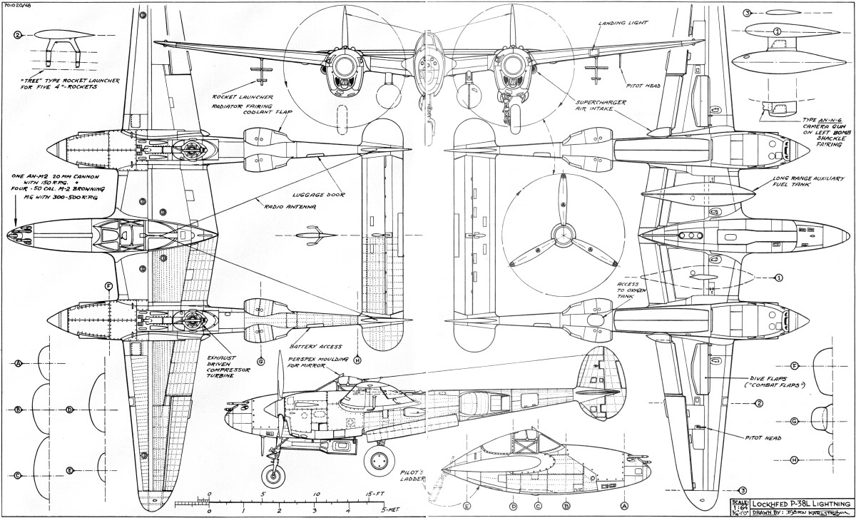 The P-38 - Best of the Twins w/4-View Drawing, April 1971 American