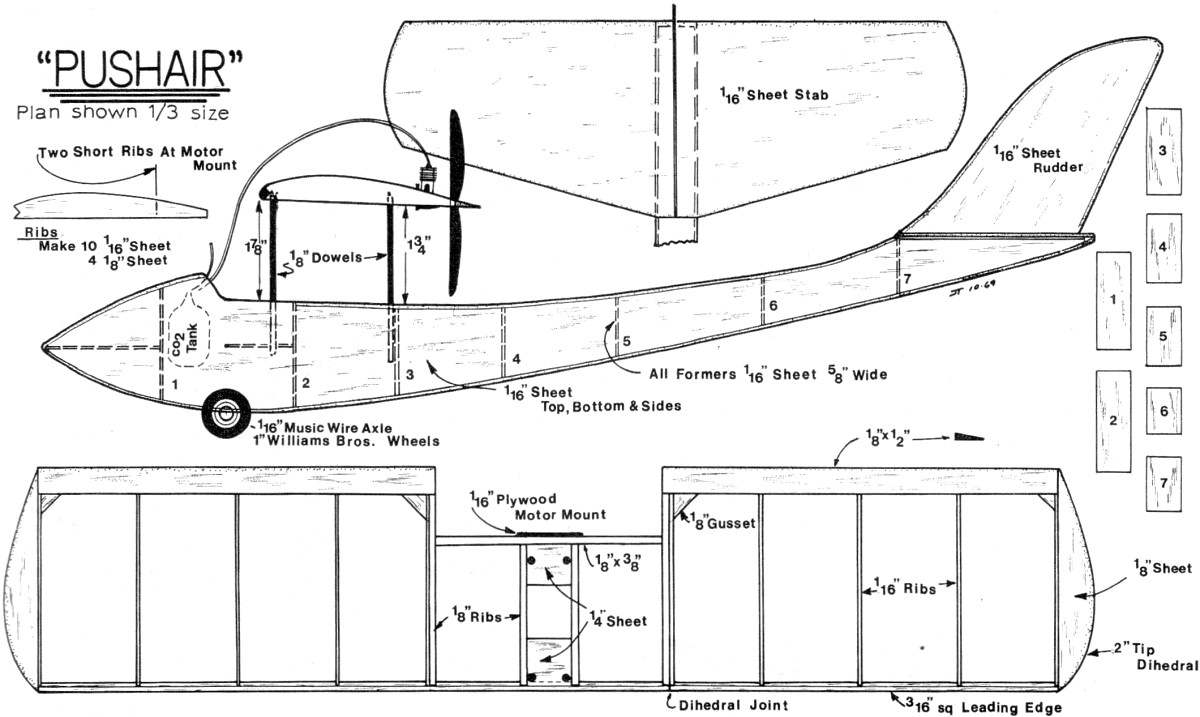 Push-Air CO2-Powered Free Flight Article & Plans, February