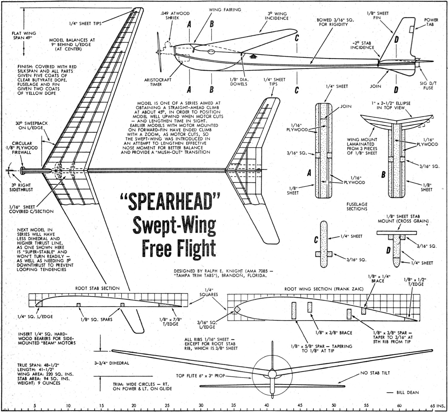 Model Airplane Plans: S19 Mini Tiger Moth 980mm Wingspan Balsa Wood