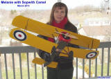 Supermodel Melanie with Sopwith Camel (bottom view) - Airplanes and Rockets