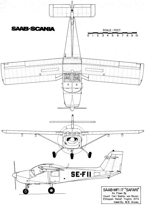 Saab MFI-15 / MFI-17 3-View Drawing - Airplanes and Rockets