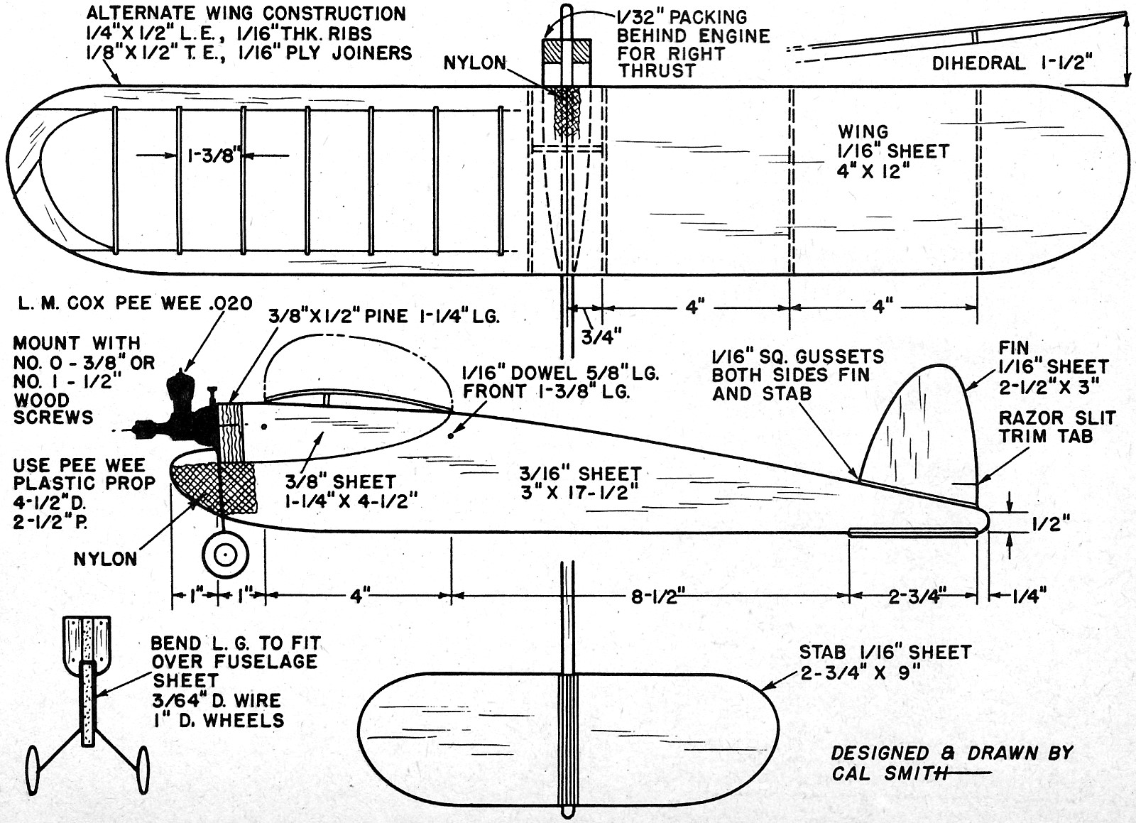 Pee wee bomb article plans december 1957 american for Cox plans