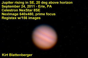 Jupiter Through Celestron 8SE Telescope, September 24, 2011, Erie, PA, by Kirt Blattenberger - Airplanes and Rockets