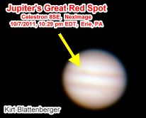 Jupiter's Great Red Spot, 10-7-2011, by Kirt Blattenberger - Airplanes and Rockets