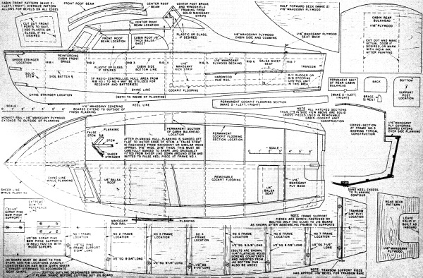 Big Twin R C Outboard Motorboat May 1957 American Modeler Motor Rc Boat Wiring Diagram Also Plane As Well Plans Sheet 2 Airplanes And Rockets