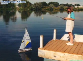 Supermodel Melanie Blattenberger with her Thunder Tiger Victoria RC sailboat in Loveland, Colorado - Airplanes and Rockets