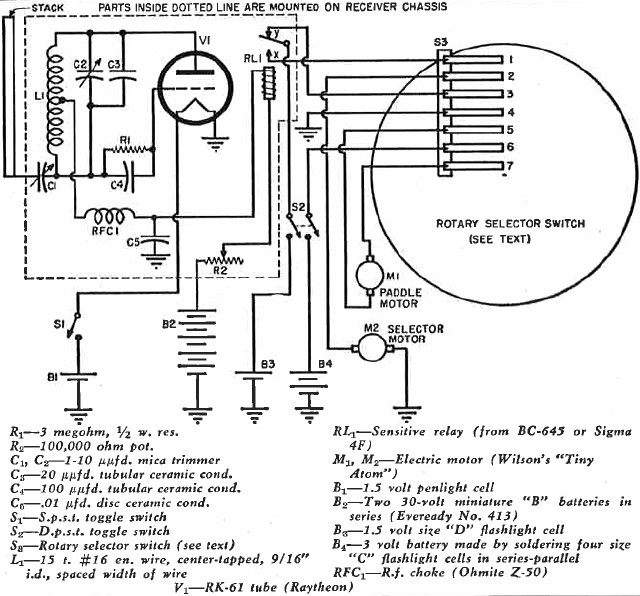 wiring diagram of the receiver, motors, and selector switch contact fingers  - airplanes and