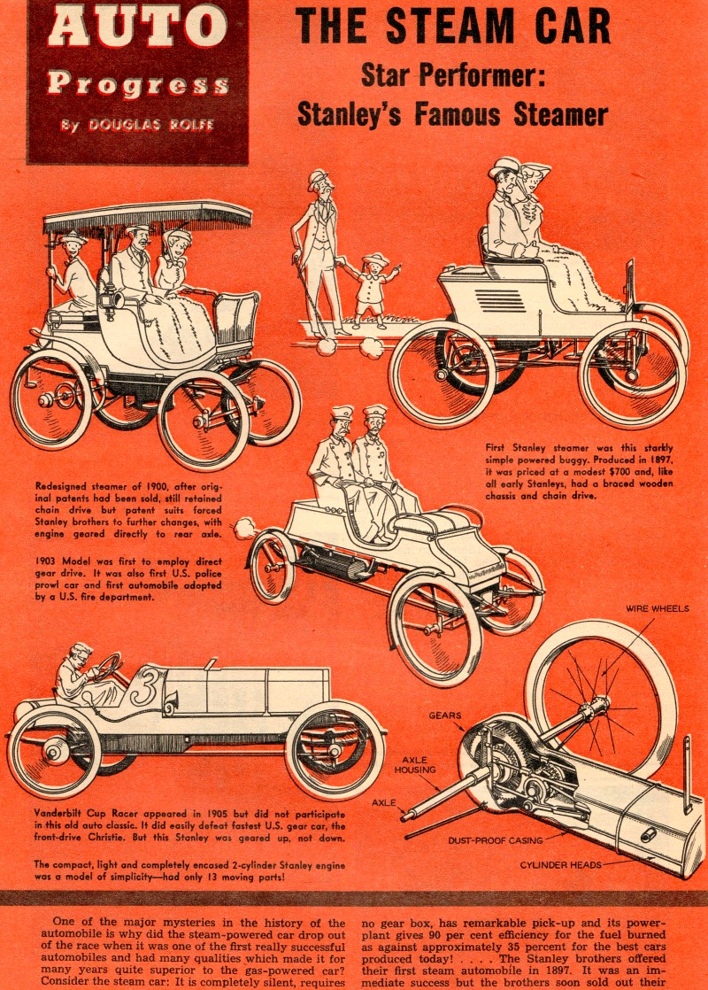 Stanley Steamer Car >> Auto Progress: The Steam Car, March 1955 Air Trails - Airplanes and Rockets
