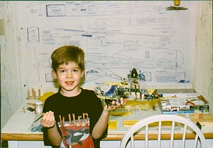 Philip with Erector Set helicopter - Airplanes and Rockets