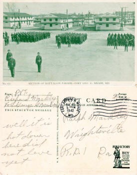 Postcard: Section of Battalion Parade - Ft. George Meade - Airplanes and Rockets