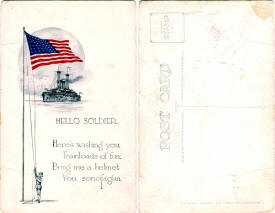 Postcard: Hello Soldier - Airplanes and Rockets