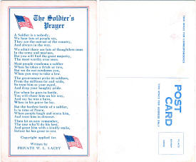 Postcard: The Soldier's Prayer, by Pvt. W.L. Lacey - Airplanes and Rockets