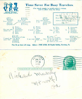 Postcard: VFW Time Saver for Busy Travelers - Airplanes and Rockets