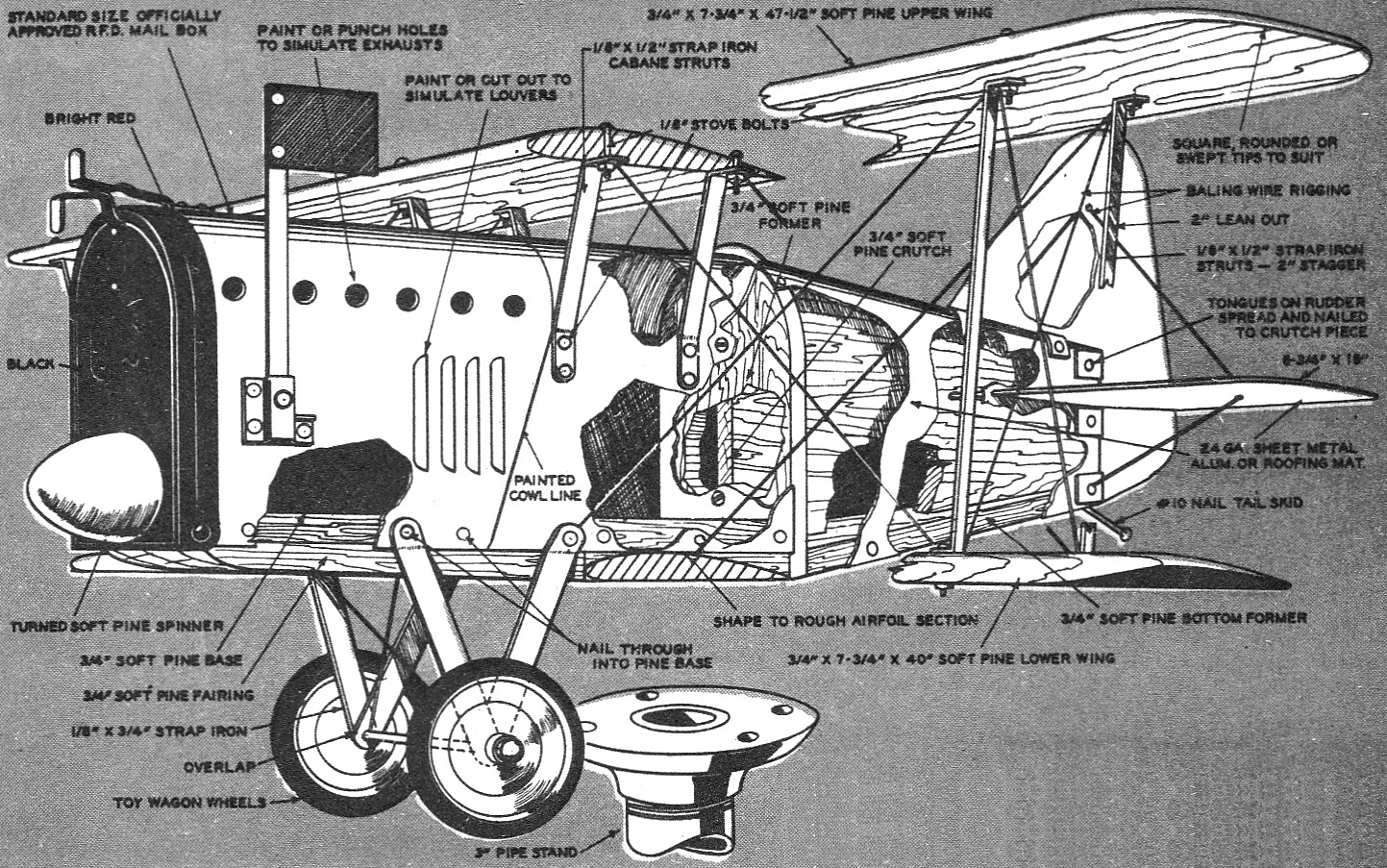 Antique Biplane Mailbox Assembly Drawing - Airplanes and Rockets