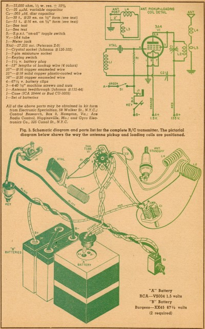 Schematic & Wiring Diagram, The Lorenz Transmitter, December 1954 Popular Electronics - Airplanes and Rockets
