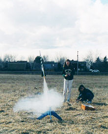 Sally Blattenberger launching her Estes Gemini rocket in Loveland, CO - Airplanes and Rockets