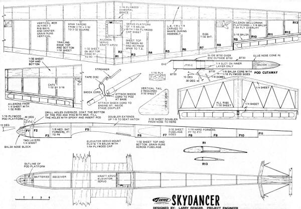 Estes Skydancer Rocket-Boost R/C Glider Plans - Airplanes and Rockets