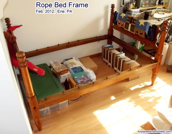 Antique Rope Bed With Sacking Bottom Airplanes And Rockets